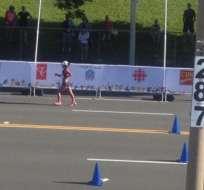 CANADÁ.- La ecuatoriana Paola Pérez se llevó el tercer lugar en la competencia en marcha de 20 kilómetros. Foto: Twitter/@EcuadorOlimpico