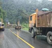 QUITO, Ecuador.- La vía Quito -Papallacta-Baeza-Tena permanece cerrada. Equipos del Ministerio de Transporte y Obras Públicas continúan con la limpieza. Foto: MTOP