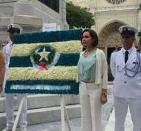 """GUAYAQUIL, Guayas.- En su discurso, la vicealcaldesa Tabacci se refirió al gobierno como """"abusador"""". Foto: Twitter Guayaquil Turismo."""