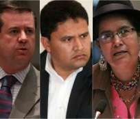 QUITO, Ecuador.- Páez (i) y Tibán (d) rechazaron enfáticamente las declaraciones de Vallejo (c). Fotocomposición: Ecuavisa