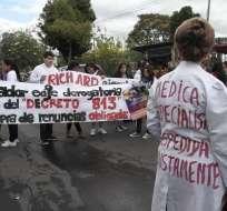 QUITO.- Los médicos piden la derogatoria de algunas reformas realizadas por el Gobierno. Foto Referencial: Archivo API