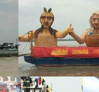 GUAYAQUIL, Ecuador.- El río Guayas fue el magnífico escenario donde se pudieron apreciar 6 hermosas barcazas. Foto: Twitter  @GyeTurismo