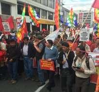 """Manifestantes durante la marcha denominada """"Libertad presos por luchar"""". Foto: Twitter / Francisco Garcés"""