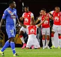 BOGOTÁ, Colombia.- Morelo convirtió el gol de la clasificación del Santa Fe. Foto: AFP.