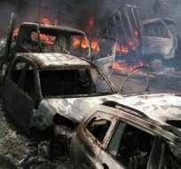 MEDELLÍN, Colombia.- El ELN incineró tres camionetas y dos tractomulas en el sitio conocido como 'El 18'. Foto: Tomado de LaFm.com.co.