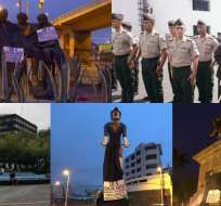 ECUADOR.- Con carteles y lonas negras en monumentos, y actos policiales se recuerda a las víctimas del 30 de septiembre de 2010.