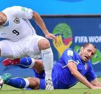 Luis Suárez fue expulsado en el partido entre Uruguay e Italia por el Mundial de Brasil 2014.