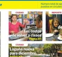El medio de comunicación realizó un pedido de acción de protección. Foto: Captura de la portada del 1 de septiembre de Diario La Hora.