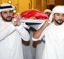Rashid tenía 33 años. Su funeral se realizó en una mezquita hasta donde llegaron altos funcionarios del Estado.  Foto: AFP
