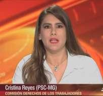 ECUADOR.- Cristina Reyes durante su entrevista en el programa Contacto Directo. Foto: Ecuavisa