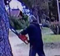 PINAMAR.Argentina.-Un hombre que amenazaba a sus vecinos con una motosierra fue capturado por la policía. Foto tomada de clarin.com