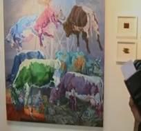 Jonal Delgado, artista de 22 años, logró cautivar a los miembros del jurado con su obra. Foto: Captura de video