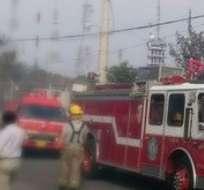 GUAYAQUIL, Ecuador.- Seis unidades del Cuerpo de Bomberos controlaron la situación. Foto: Twitter Bomberos Gye.