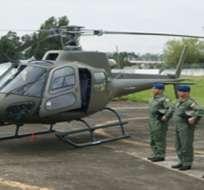 Imagen de la entrega de uno de los helicópteros franceses al Ejército ecuatoriano