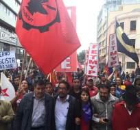 QUITO, Ecuador.-Gremios e indígenas comienzan marcha en contra del Gobierno. Foto Jacqueline Rodas
