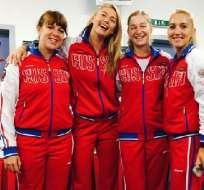 María Sharapova (segunda izquierda) dijo estar preparada para la final ante las checas.