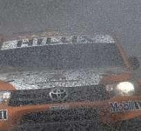 SAN CARLOS, Argentina.- El temporal ha causado serios daños en la ruta. Foto: AFP.
