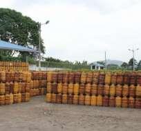 ECUADOR.- Según Petroecuador, se trata de bombonas de GLP en mal estado a escala nacional. Foto: Petroecuador