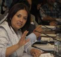 QUITO, Ecuador.- Betty Carrillo instó a Oswaldo Larriva a renunciar a la Asamblea Nacional. Foto: API