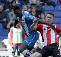 BARCELONA, España.- Felipe Caicedo le dio el triunfo al Espanyol ante Athletic de Bilbao. Foto: EFE.