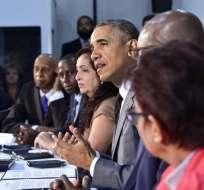 """""""Quiero agradecer a todos los que han venido aquí. A menudo se requiere mucha valentía para hacer activismo en Cuba"""", dijo Obama. Foto: AFP"""