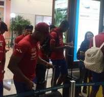 GUAYAQUIL, Ecuador.- Seleccionados a su arribo al aeropuerto José Joaquín de Olmedo.