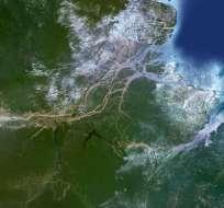Así se ve el delta del río Amazonas desde un satélite en el espacio.