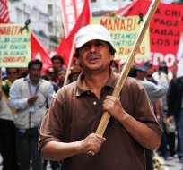 En Quito y Guayaquil se movilizaron grupos sindicales por el Día del Trabajador. Foto: Ministerio del Interior