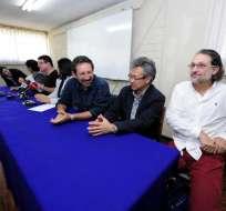 Representantes del Colectivo Focus, Plan V, Mil Hojas y 4pelagatos, durante una rueda de prensa.