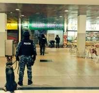 Aproximadamente a las 18h00, la terminal fue evacuada por una alerta al Ecu-911. Foto: Ministerio del Interior