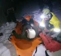 Uno de los rescatados sufrió una herida en la pierna y presentó ceguera de montaña. Foto: Ministerio del Interior