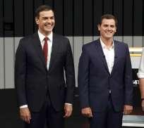 El presidente del Gobierno en funciones y del PP, Mariano Rajoy (i), el líder del PSOE, Pedro Sánchez (2i), el presidente de Ciudadanos, Albert Rivera (2d), y el secretario general de Podemos, Pablo Iglesias (d). Foto: EFE