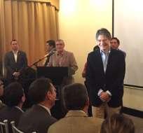 Guillermo Lasso se reunió hoy con militares en servicio pasivo en Quito. Foto: API