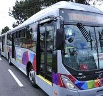 QUITO, Ecuador.- El municipio prevé tener 80 buses biarticulados, con capacidad para 250 personas cada uno. Foto: API