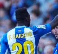 Caicedo marcó el empate de su equipo. Foto: EFE.