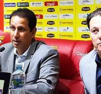 José Francisco Cevallos y Alfaro Moreno dieron una rueda de prensa. Foto: Tomada de http://barcelonasc.com.ec