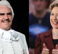 """""""Hillary estamos contigo. Con nuestro voto tú cuentas"""", dijo el cantante en su interpretación. Foto: Collage."""