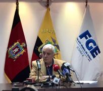 El Fiscal General del Estado dio una rueda de prensa para dar más detalles del caso Ecuafútbol. Foto: Tomada de la cuenta Twitter @FiscaliaEcuador