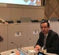 GINEBRA, Suiza.- El Ministro de Comercio Exterior, Juan Carlos Cassinelli dutante su exposición ante la OMC. Foto: Cortesía.