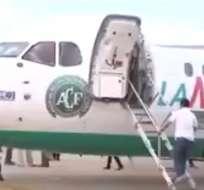 El avión de la compañía Lamia trasladó también a la selección de Argentina hacia Colombia.