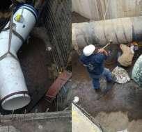 Agentes realizan trabajos de empalme de tuberías en el Intercambiador Granados. Foto: @aguadequito