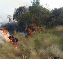 EL CAJAS, Ecuador.- Miembros del Cuerpo de Bomberos trabajaron en el control del incendio que consumió más de 100 hectáreas de bosque. Foto: Bomberos Cuenca.