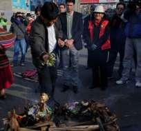 Evo Morales, actual presidente de Bolivia, participó de un ritual indígena. Foto: AFP