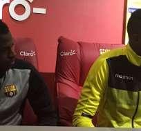 Abel Casquete y José Ayoví fueron los únicos refuerzos en estar presentes. Foto: Tomada de la cuenta Twitter @BarcelonaSCweb