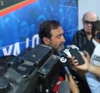 El presidente de Emelec afirmó que alfredo Arias está contento con la plantilla que tiene. Foto: Jorge Boza