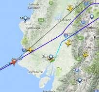 La aeronave arribó a Guayaquil sin novedad tras realizar procedimiento de emergencia. Foto: Twitter Aviación Guayaquil.