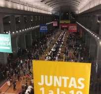 Imagen que muestra un momento de la votación en Madrid, España. Foto: Twitter Guillaume Long