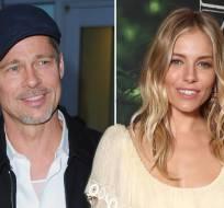 Los actores Brad Pitt y Sienna Miller han sido vistos en actitud cariñosa durante una cena en Los Ángeles. Foto: pagesix.com