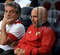 Jorge Sampaoli (d.) es el candidato número uno para dirigir la selección argentina. Foto: AFP