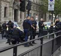 La detención del sospechoso ocurrió en la avenida Whitehall, Londres, cerca de la residencia de la Premier Theresa May. Foto: AFP